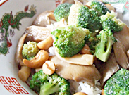 Stirfried oyster mushrooms, broccoli with cashew nuts