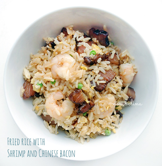 Fried rice with Shrimp and Chinese bacon