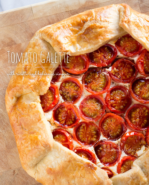 Tomato galette with ricotta and balsamic vinegar