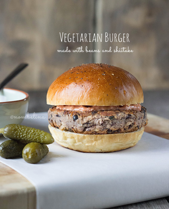 Vegetarian Burger made with Beans and Shiitake