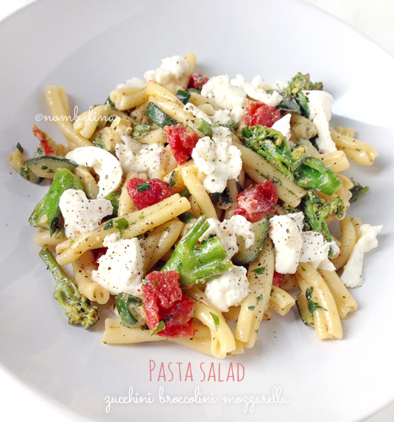 Pasta Salad with Zucchini, Broccolini and Mozzarella