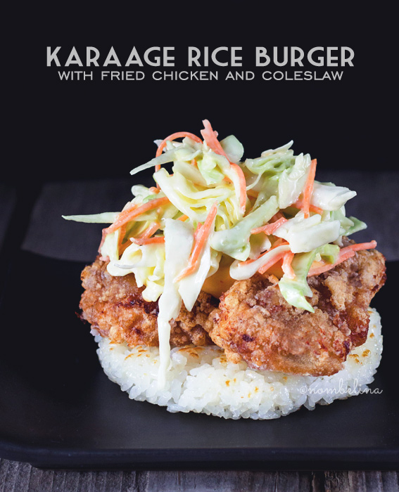 Karaage Rice Burger with Fried Chicken and Coleslaw