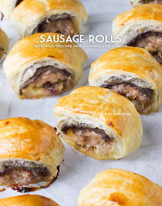 Sausage rolls with Mushrooms and Caramelized Onions