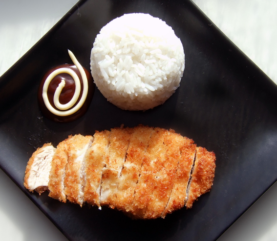 Tori katsu with rice and coleslaw