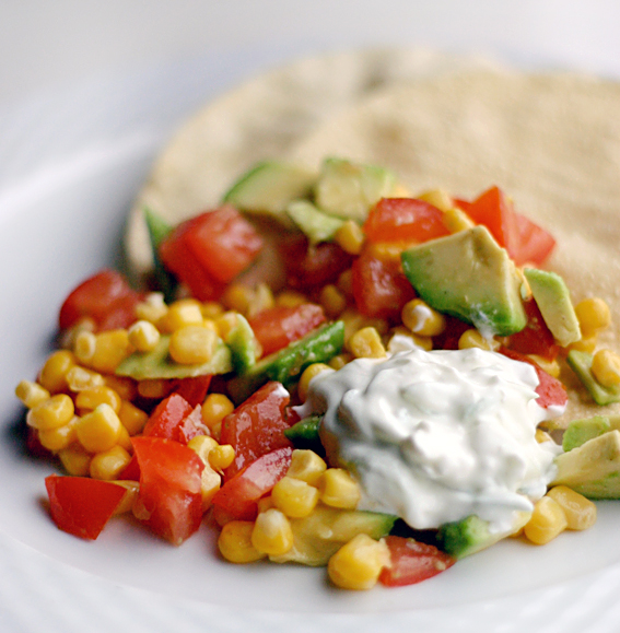 Corn salad with papadums and tzatziki