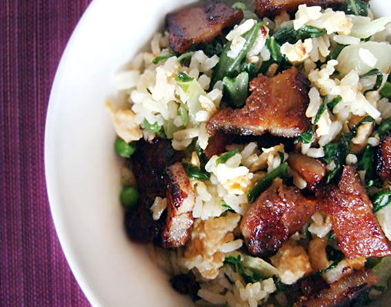 Fried rice with sticky pork belly slices