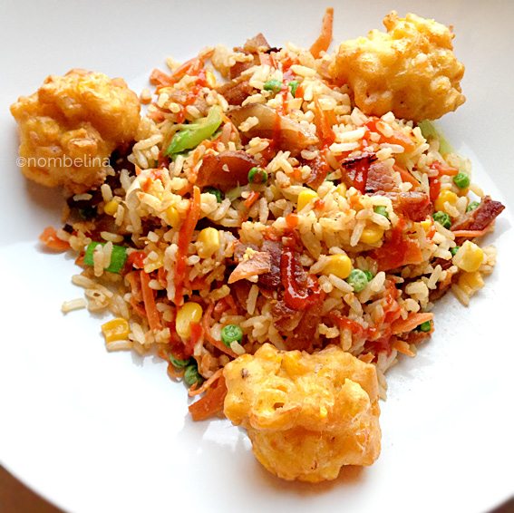 Fried Rice with Corn Fritters