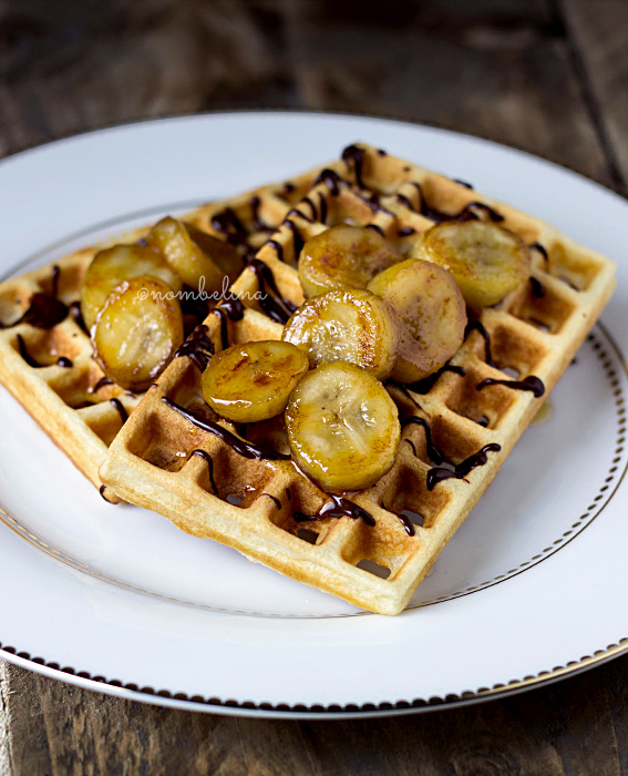 Waffles with Maple Syrup, Banana and Chocolate