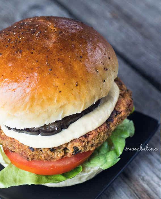 Vegetarian Eggplant Burger with Hummus and Za'atar