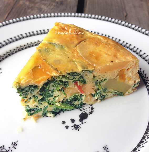 Tortilla with chard, spinach and baby kale