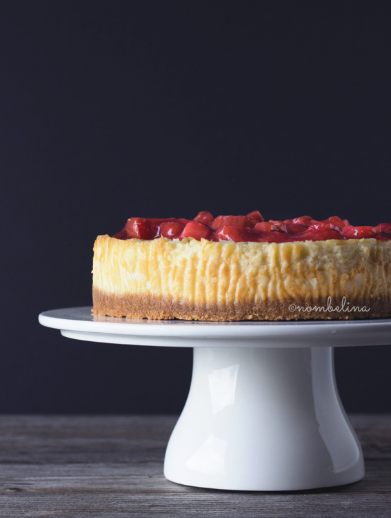 Cheesecake with Strawberry Rhubarb Compote